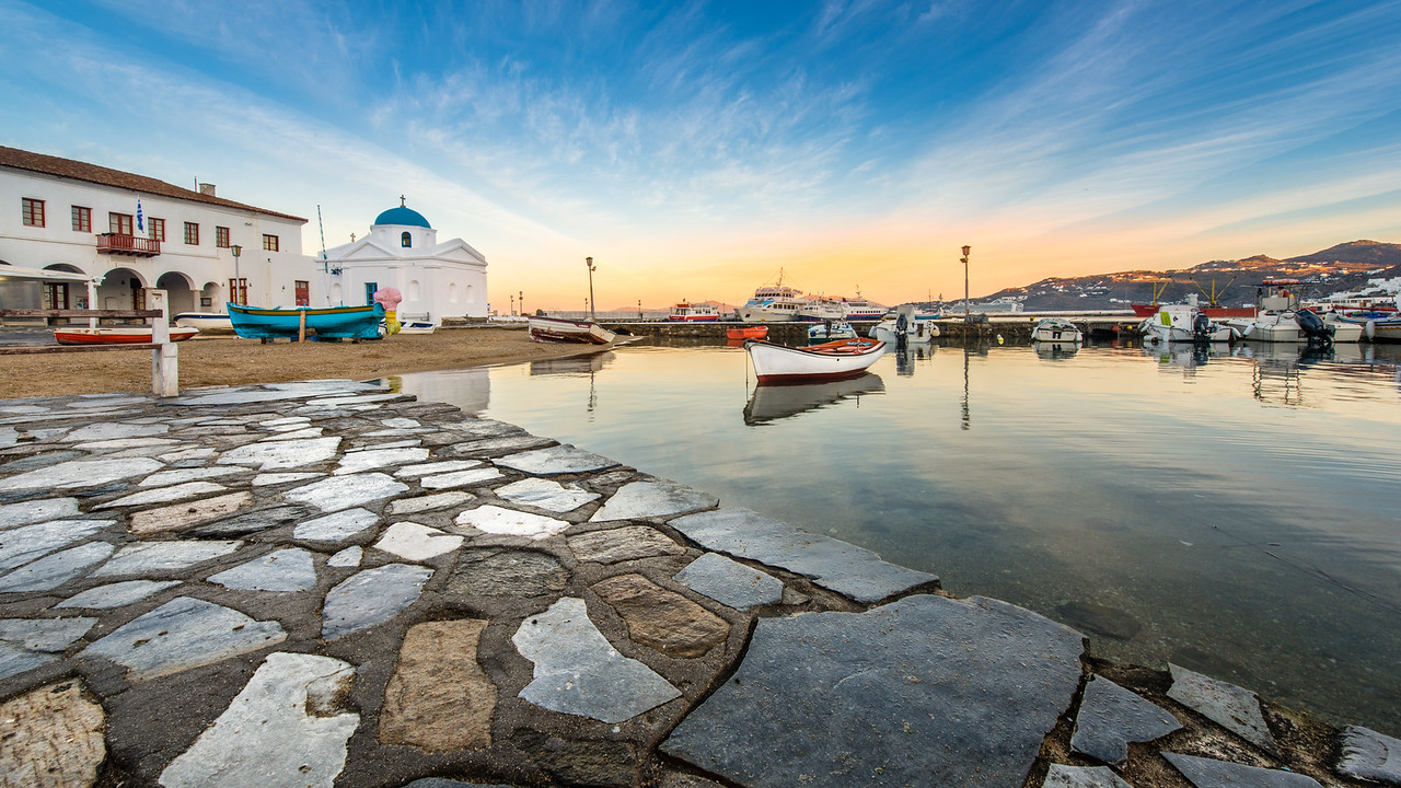 Mykonos Harbor at Dawn
