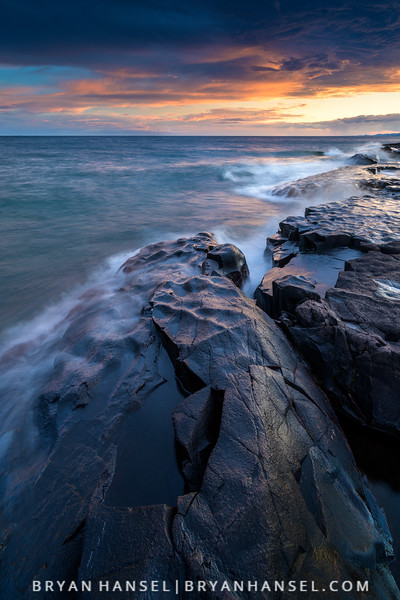 Last night's sunset was killer! I love it when waves come from the southwest on Lake Superior. I went out to practice some photography and came home with wet feet and this shot. It's a vertical so if you are on your computer, you may have to click it to see the whole thing.