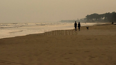 B6:A couple takes a stroll at dusk,followed by a dog in Tajpur,West Bengal