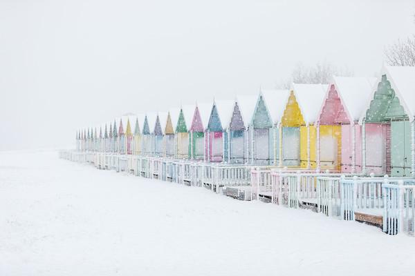 Snowy Beach Huts