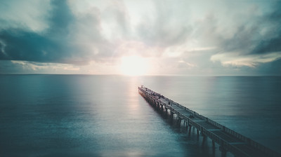ocean water sunrise pier florida moody long exposure color