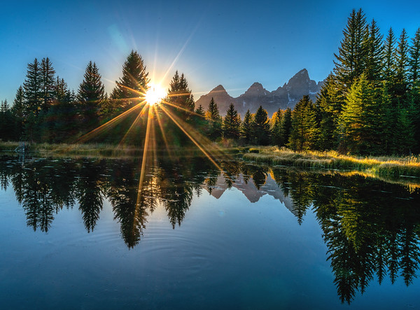 Sunstar by the Tetons