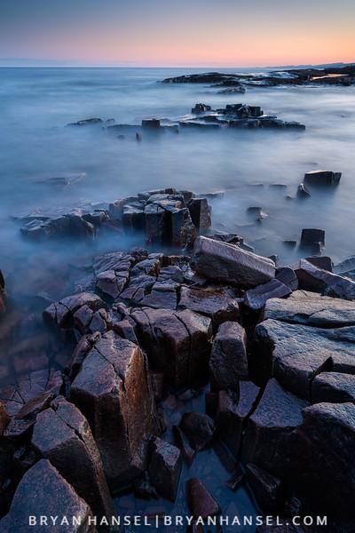 Breakwater Basalt at Sunset