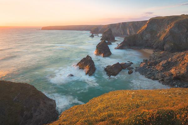 Bedruthan Steps. Cornwall, England