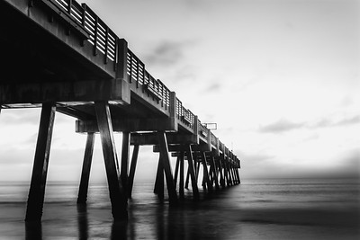 Jacksonville Beach Pier Black and White Long Exposure