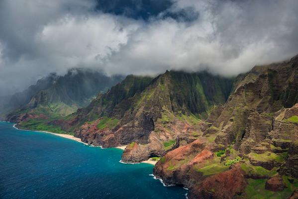 Napali Coast, Kauai from helicopter