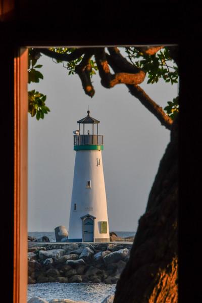 Santa Cruz Lighthouse Through Restaurant Window
