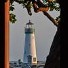 Santa Cruz Lighthouse Through Restaurant Window.
