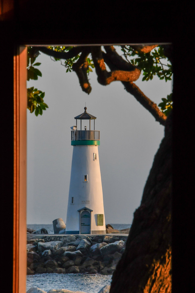 Santa Cruz Lighthouse Through Restaurant Window