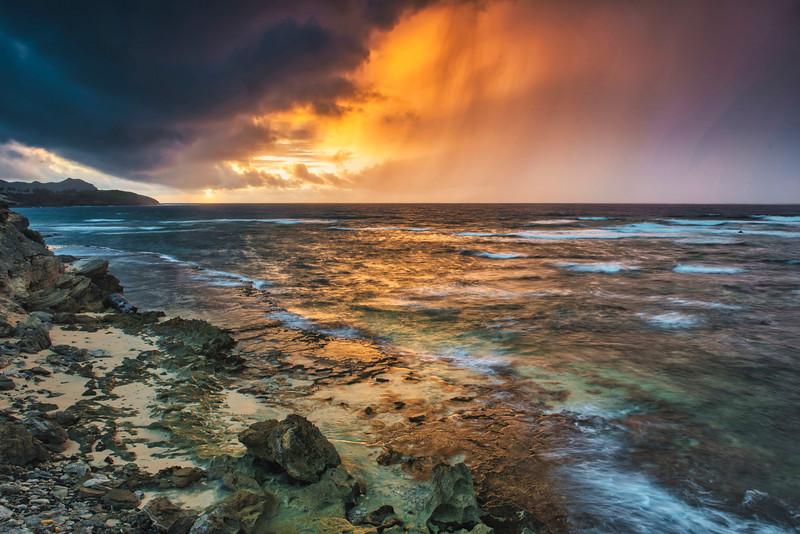 Storm breaks at dawn on Kauai