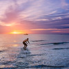 Skim boarding at Sunset