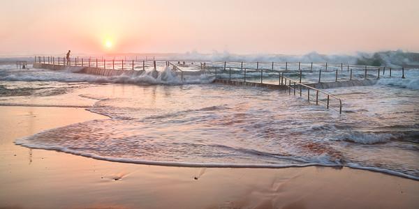 Mona Vale Ocean Pool - Pink Dawn Panorama, Sydney, Australia