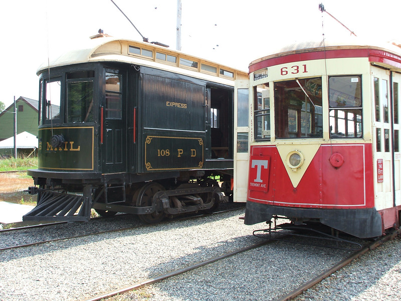 TARS 631 as the Highwood shuttle sits awaiting passengers from the mainline trip while US Post office car 108 awaits its annual inspection trip.