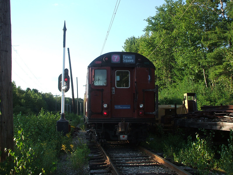 New York City Subway car 9327 sits just north of McKay's Crossing waiting for overhead power to be restored.