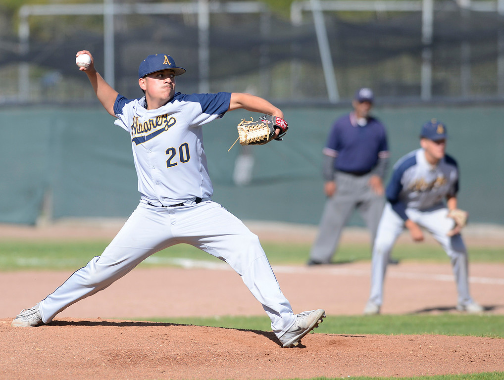 . Alvarez\'s Ivan Rocha pitches during baseball at Seaside High School on Thursday April 27, 2017.  (David Royal - Monterey Herald)