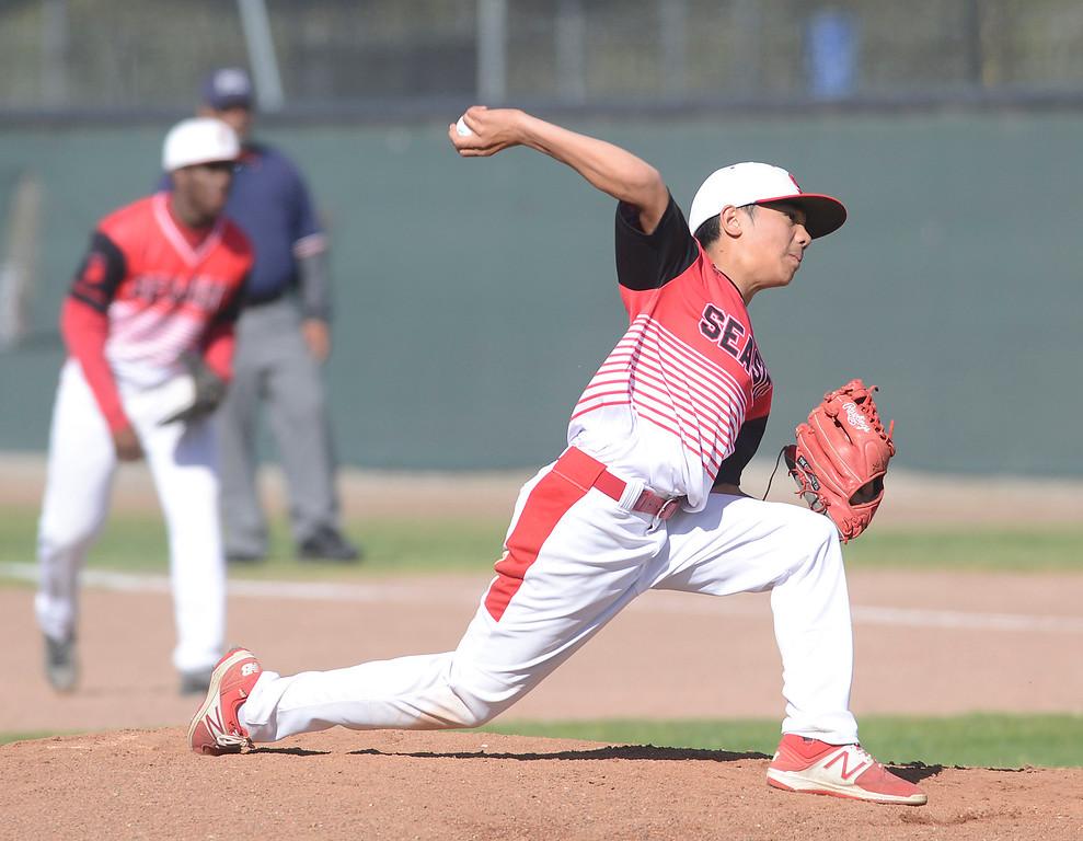 . Seaside\'s Tristan Trotter pitches against Alvarez during baseball at Seaside High School on Thursday April 27, 2017.  (David Royal - Monterey Herald)