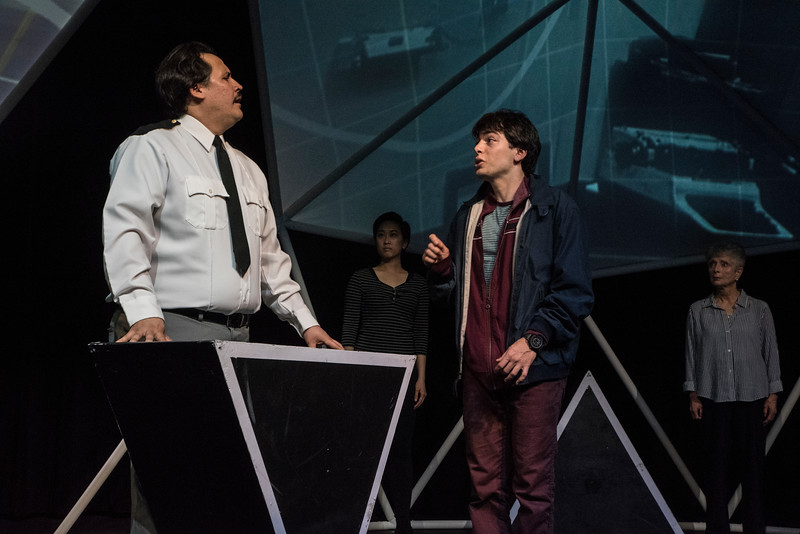 Sam Gilstrap, Lois Shih, Alex Rosenthal, and Billie McBride in BETC's production of THE CURIOUS INCIDENT OF THE DOG IN THE NIGHT-TIME (photography: Michael Ensminger)