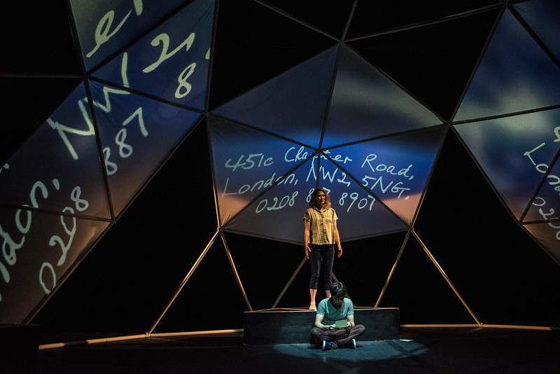 Karen LaMoureaux and Alex Rosenthal in BETC's production of THE CURIOUS INCIDENT OF THE DOG IN THE NIGHT-TIME (photography: Michael Ensminger)