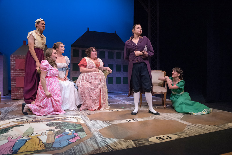 Casey Andree, Adeline Mann, Anastasia Davidson, Leslie O'Carroll, Lindsey Pierce, and Candace Joice in BETC's regional premiere of Jane Austen's Pride and Prejudice by Kate Hamill (photography: Michael Ensminger)