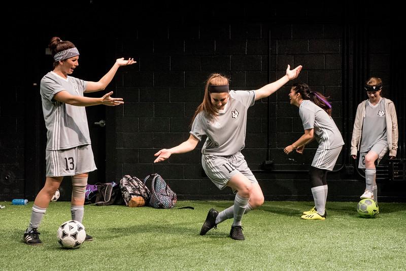 Maire Higgins, Rebakah Goldberg, Erika Mori, and Hannah Haller in BETC's production of The Wolves (photography: Michael Ensminger)