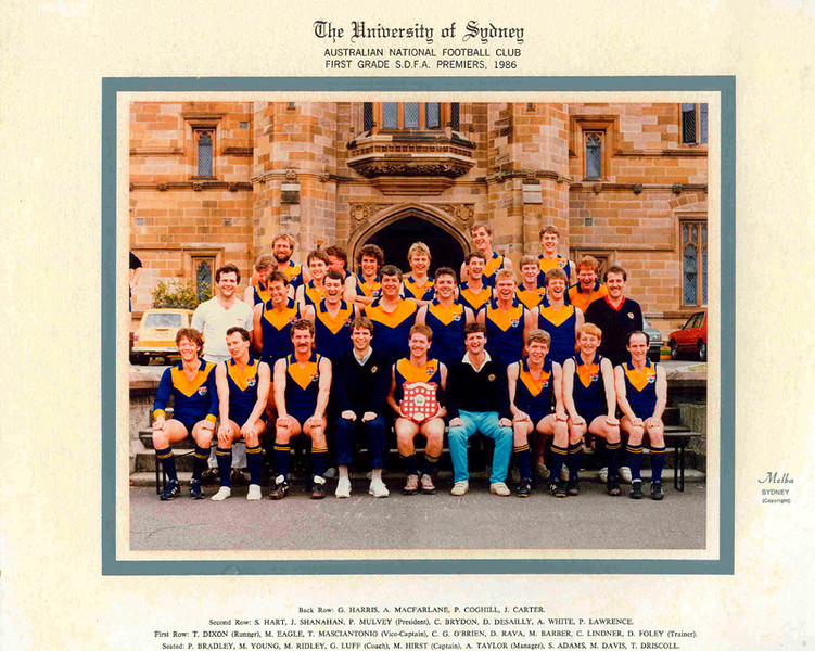 Back Row: G. Harris, A. MacFarlane, P. Coghill, J. Carter<br /> 2nd Row: S. Hart, J. Shanahan, P. Mulvey (President), C. Brydon, D. Desailly, A. White, P. Lawrence<br /> 1st Row: T. Dixon (Runner), M. Eagle, T. Masciantonio (Vice Captain), C.G. O'Brien, D. Rava, M. Barber, C. Lindner, D. Foley (Trainer)<br /> Seated: P. Bradley, M. Young, M. Ridley, G. Luff (Coach), M. Hirst (Captain), A. Taylor (Manager), S. Adams, M. Davis, T. Driscoll