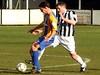 <CENTER>Dave Theobald closes down a Basingstoke forward</CENTER>