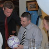 <CENTER>Dan Barnes is seen here with Neil Harris and Neil's signed matchball from 1997</CENTER>