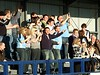 <CENTER>City fans celebrate Dave Theobald's equaliser</CENTER>