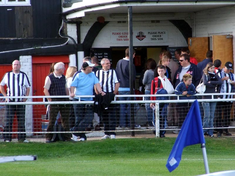 <CENTER>City fans at the Lewes tea-bar</CENTER>