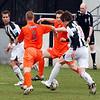 <CENTER>Josh Simpson runs at the Lewes defence</CENTER>