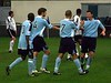 <CENTER>Well done mate - Midge is congratulated after putting City 1-0 up</CENTER>
