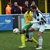 <CENTER>Matty tussles with a Thurrock defender</CENTER>