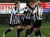 <CENTER>Well done mate - Ash is congratulated after his spectacular goal</CENTER>
