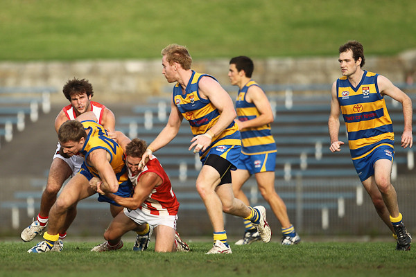 SYDNEY, AUSTRALIA - May 30: Sydney University (10.15-75) defeat the St George Dragons (7.5-47) in Round 8 of the AFL Sydney Premier Division Competition at Henson Park on Sunday May 30, 2010 in Sydney, Australia. (Photo by Michael Vettas/SAFLPhotos.com.au)