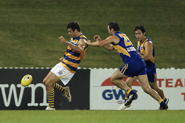 SYDNEY, AUSTRALIA - April 23: Sydney University Students (10.15-75) defeat the East Coast Eagles (10.8-68) in Round 3 of the AFL Sydney Premier Division Competition at Blacktown Olympic Park on Friday April 23, 2010 in Sydney, Australia. (Photo by Michael Vettas/SAFLPhotos.com.au)