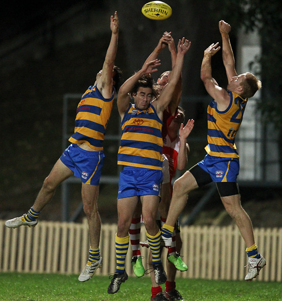 SYDNEY, AUSTRALIA - May 15: Sydney University Students (20.13-139) defeat the Wollongong Lions (11.11-77) in Round 6 of the AFL Sydney Premier Division Competition at Sydney University Oval #1 on Saturday May 15, 2010 in Sydney, Australia. (Photo by Michael Vettas/SAFLPhotos.com.au)