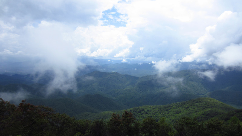 The view from Wayah Bald Firetower. Not long after this, it started dumping rain.