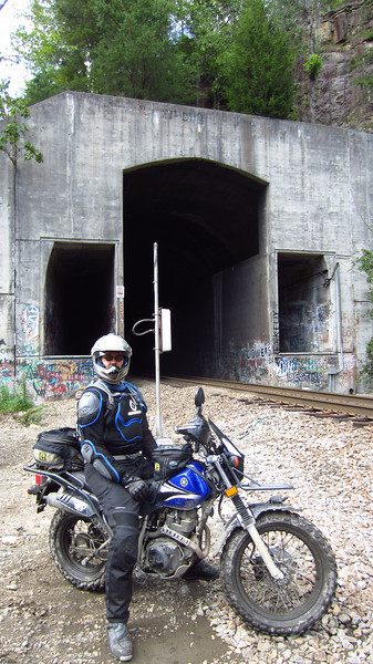 Francois at the modern tunnel that replaced Tunnel 24 in Nemo. Inexplicably, someone (NOT US) spray painted T-DUB above the tunnel entrance. 07/22/12