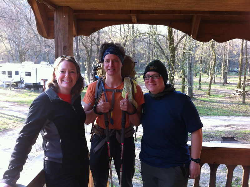 Moi, Laura (Owl) and Lacinda (Zag) at Hot Springs Campground. They're thru-hiking the AT and I rode out to meet them and hang out for a while. 04/09/13