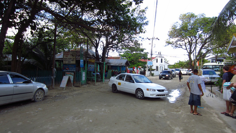 Cruise 2012: looking North on the main drag at West End, Roatan, Honduras