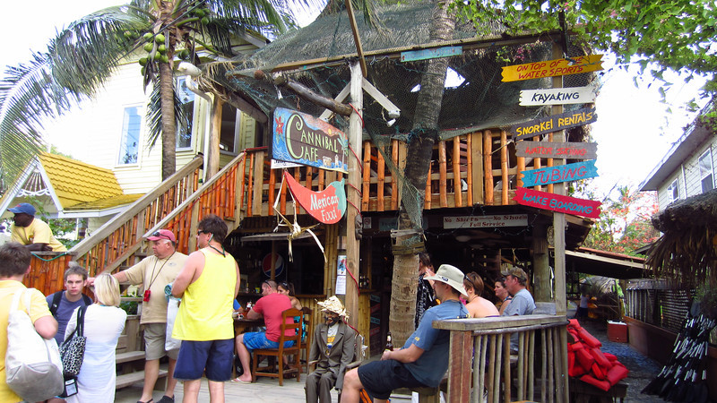 Cruise 2012: The Cannibal Cafe, where we'd love to have you... for dinner. Roatan, Honduras