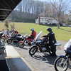 A group of riders meets up at our shop in the morning.