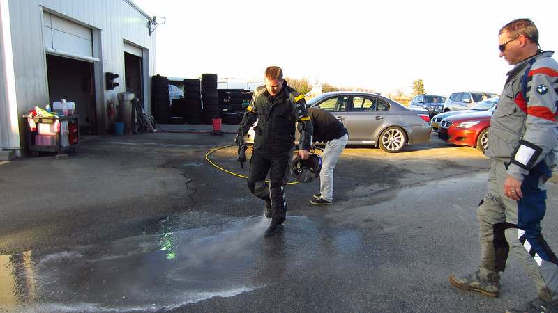 We all got pressure-washed before re-entering the classroom building. 12/10/11 at BMW Performance Center.