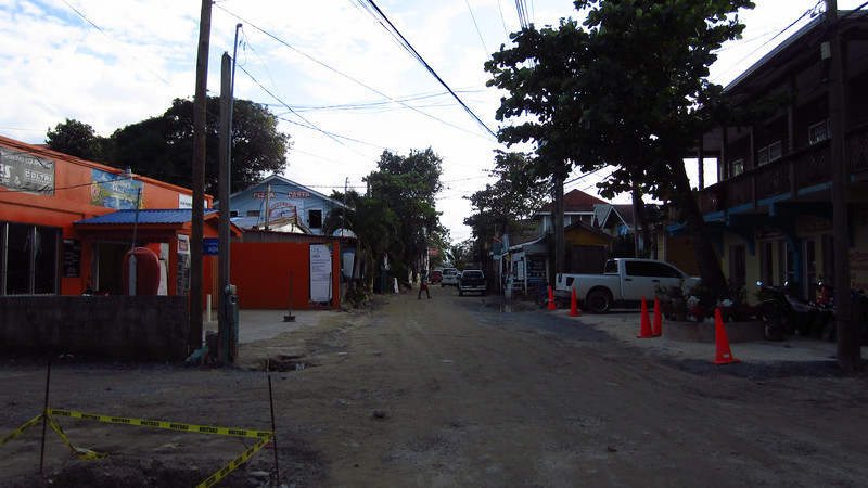 Cruise 2012: looking South on the main drag at West End, Roatan, Honduras