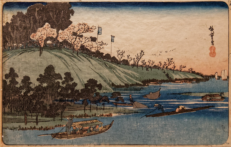 Famous Places of Edo: Sumida River in Cherry-blossom Season, by Utagawa Hiroshige (1797–1858). Edo period, 19th century