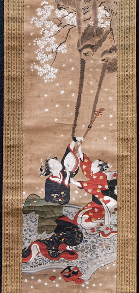 Women Viewing Cherry Blossoms, by Kawamata Tsunemasa (dates unknown). Edo period, 18th century