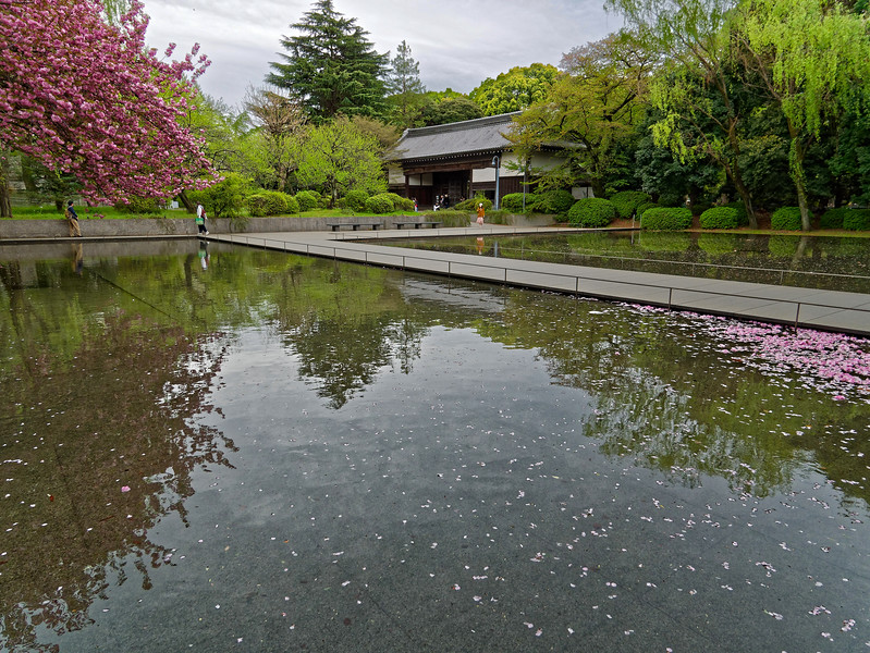 Man-made pond in front of the Gallery of Horyuji Treasures