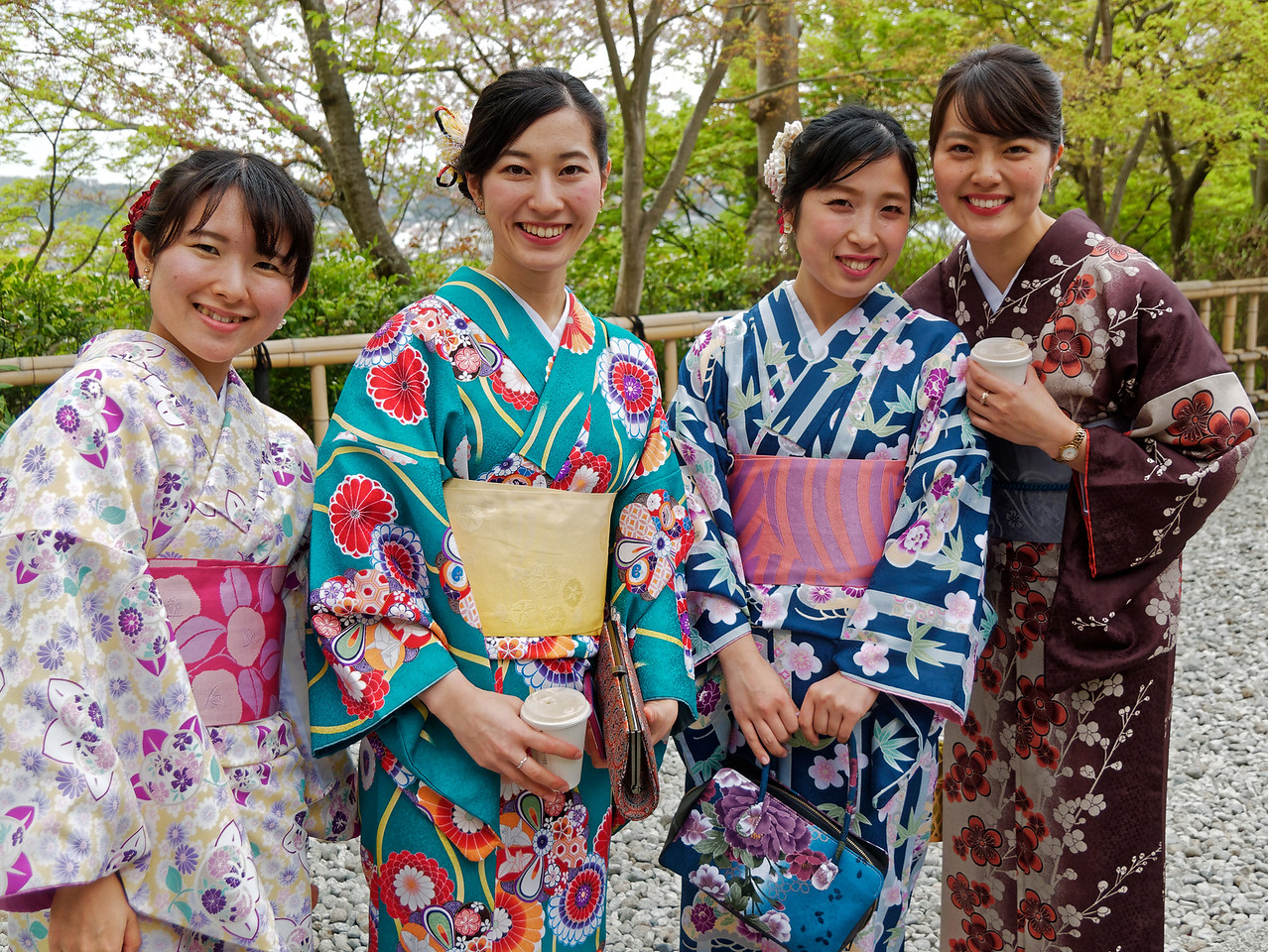 Just before we left the temple, these friendly visitors appeared. Happily, they were quite pleased to have their picture taken in their colorful kimonos.