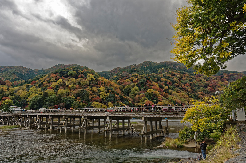 Togetsukyō is the landmark bridge at Arashiyama. Curiously, the river changes names as it passes under the bridge. To the west, it is the Hozu River; to the east, the Katsura River.