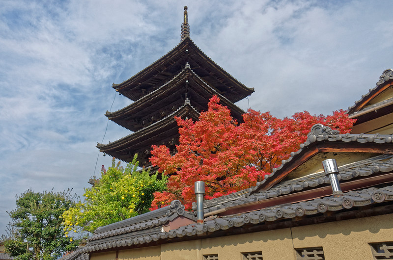 The graceful five-story pagoda with gently curving roofs is some 150 feet high.